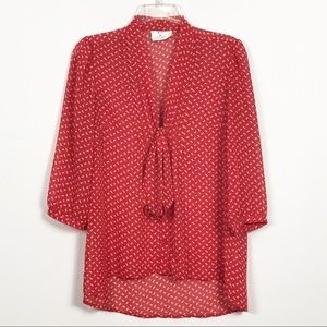 Pins and Needles Tie and Button Front Red Bow Top
